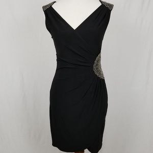 Fredericks of Hollywood Black Wrap Beaded Dress